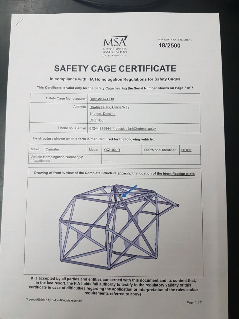 YAMAHA YXZ1000R FIA ROLL CAGE ROPS CERTIFICATE